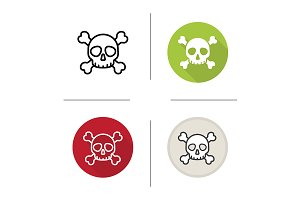 Skull and crossbones 4 icons. Vector