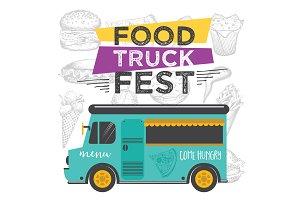 Food truck festival, street food.