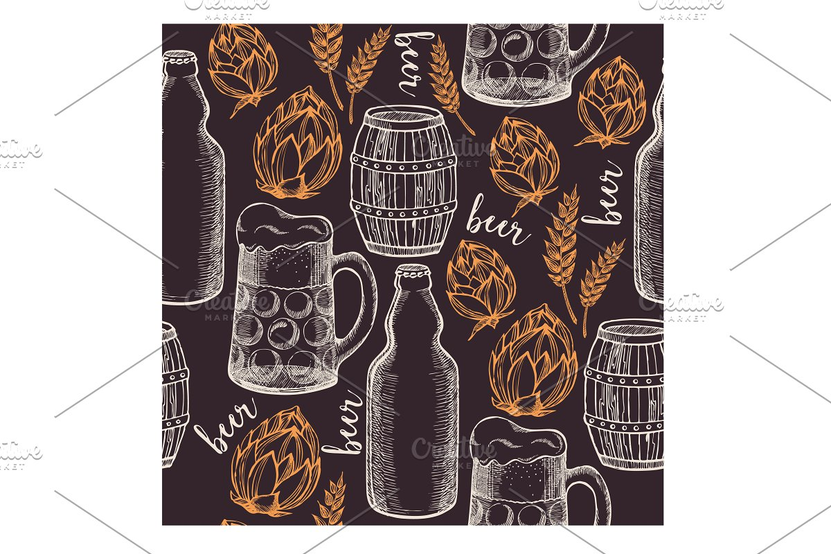 Beer seamless pattern in Illustrations