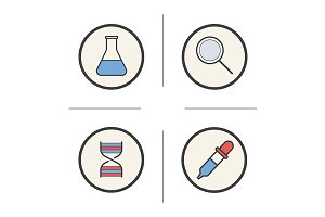 Chemical lab tools. 4 icons. Vector
