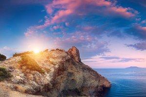 Summer mountain landscape at sunset