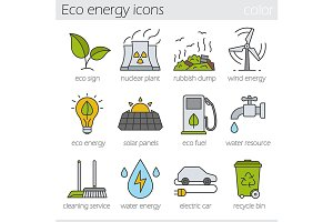 Eco energy. 12 icons. Vector