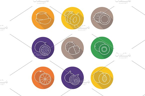 Fruit pairs. 9 icons. Vector