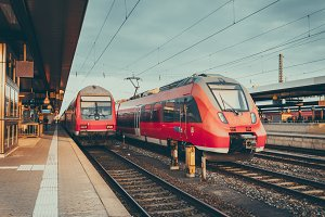 High speed railway train in Germany