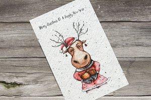 Watercolor Christmas Deers