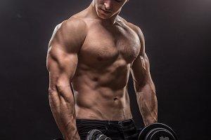 Bodybuilder studio black background