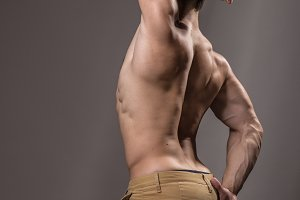Bodybuilder back glutes arm muscles