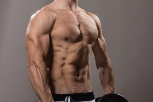 Bodybuilder strong muscular studio