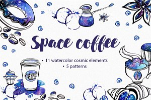 Watercolor coffee space