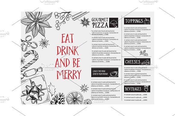 Christmas holiday menu in Illustrations