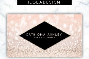 Pink Glitter Business Card.