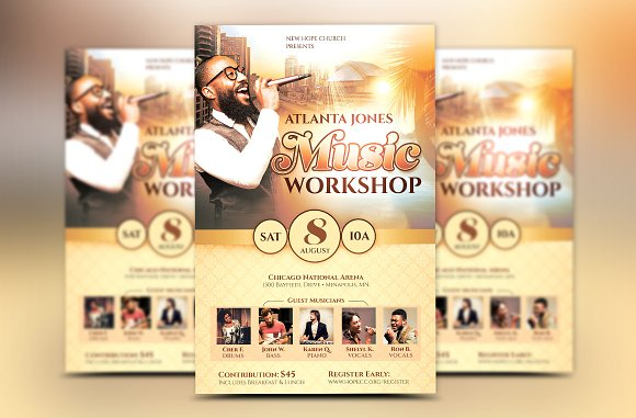 Church music workshop flyer flyer templates creative market saigontimesfo