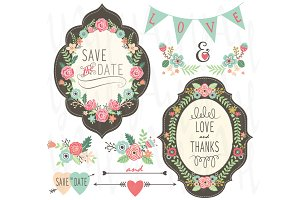 Vintage Wedding Floral Frame