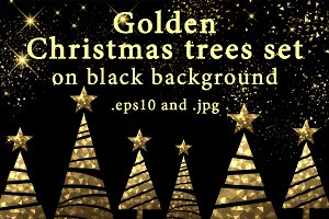 Golden Christmas trees set