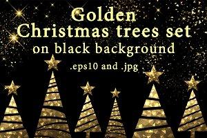 Golden Christmas trees set