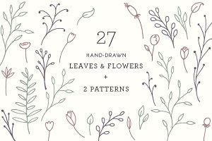 27 Leaves & Flowers + 2 Patterns
