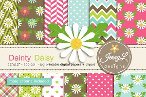 Daisy Flower Digital Paper & Clipart