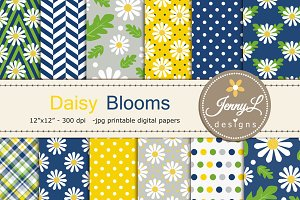 Daisy Flower Digital Papers