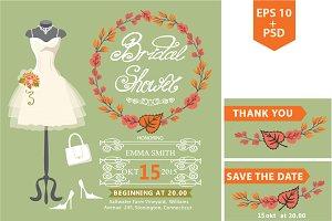 Autumn bridal shower template.Dress1