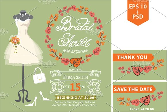 Autumn bridal shower template.Dress1 - Invitations