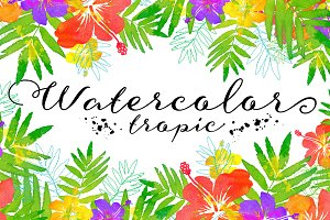 15 watercolor tropic backgrounds