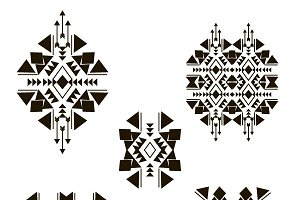 Black tribal elements isolated