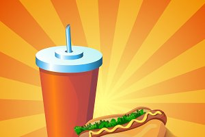 Vector colourful hot dog and drink