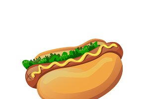 Vector bright isolated hot dog