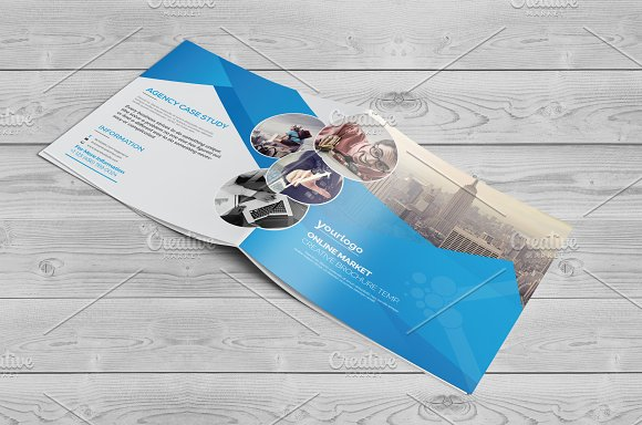 Square Bi Fold Brochure in Brochure Templates - product preview 1