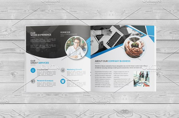 Square Bi Fold Brochure in Brochure Templates - product preview 2