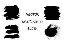 Black vector watercolor blots.