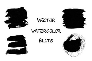 Black vector watercolor blots.