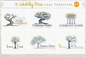 6 Sketchy Tree Logo Templates Vol1