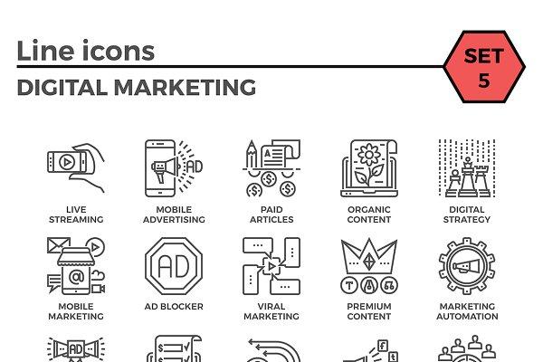 Digital Marketing Thin Line Icons.