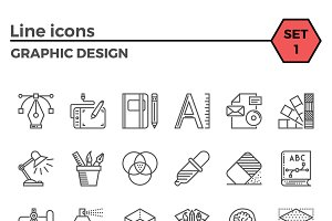 Graphic design thin line icons set.