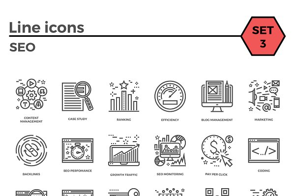 SEO Thin Line Related Icons Set