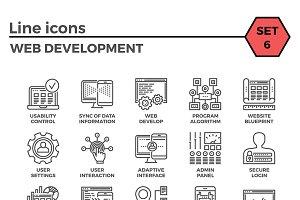 Web Development Thin Line Icon Set