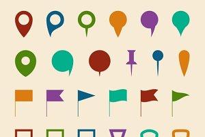 Map navigation pin pointers