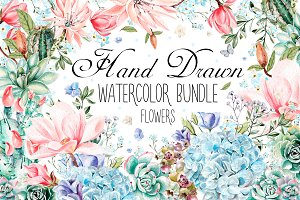 HandDrawn Watercolor Bundle FLOWERS3