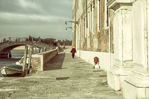 Alone on a street in Venice