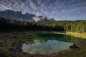 Carezza or Karersee lake in Italy
