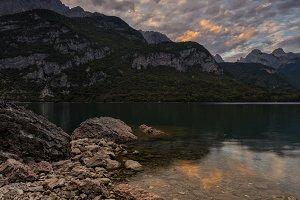 Molveno lake at sunset, Italy