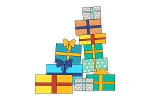 Pile of Colorful Wrapped Gift Boxes