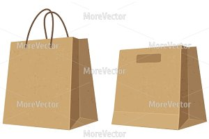 Set paper brown shopping bags