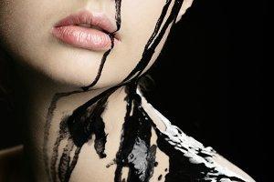 Black oil flowing down