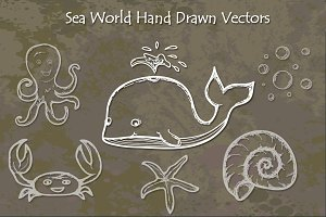 Sea World Hand Drawn Vectors