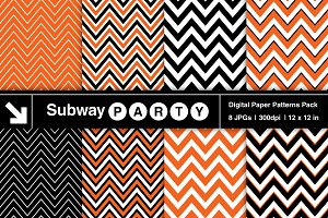 Halloween Orange Black White Chevron