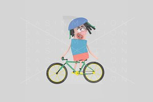 3d illustration. Mountain bike girl.