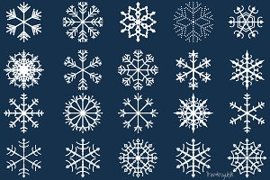 Winter snowflakes clipart set
