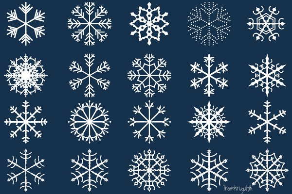 Winter snowflakes clipart set